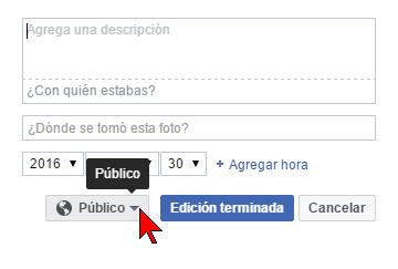 Botón Público en cómo impedir que descarguen tus fotos de Facebook
