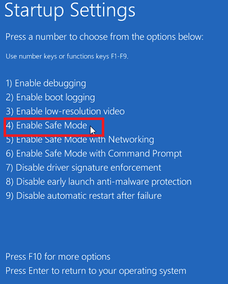 Enable Safe Mode en cómo reiniciar Windows 10 en modo seguro