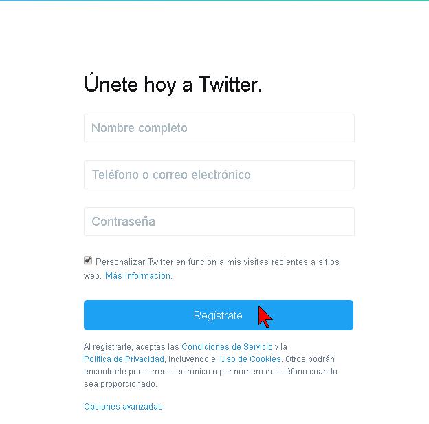 Página de registro de Twitter en español