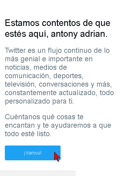 Mensaje de bienvenida a Twitter
