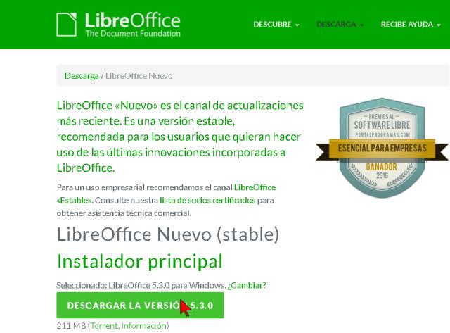 Botón para iniciar la descarga de Libre Office en cómo descargar e instalar Libre Office para Windows 10