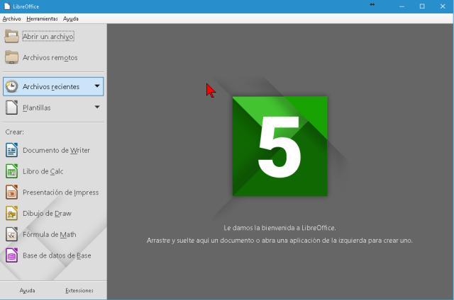 Ventana principal de Libre Office en cómo descargar e instalar Libre Office para Windows 10