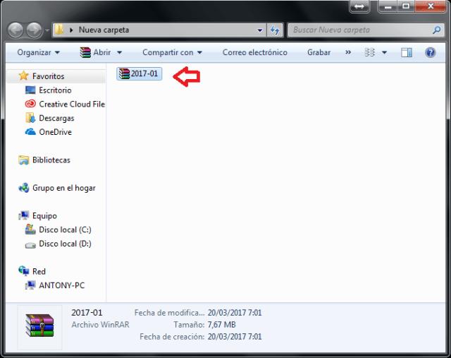 Seleccionando archivo comprimido en cómo extraer archivos comprimidos usando 7-Zip