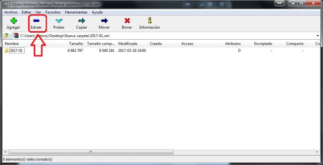 Botón Extraer de 7-Zip en cómo extraer archivos comprimidos usando 7-Zip