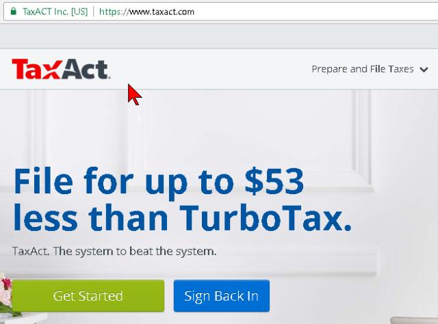 Página principal del servicio TaxAct en cómo hacer los taxes o impuestos gratis