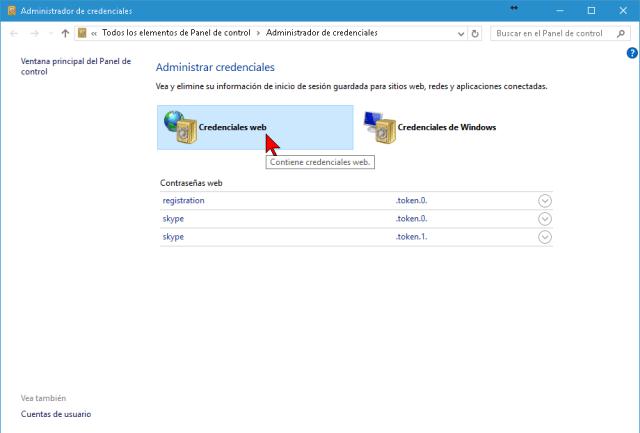 Opción Credenciales web del Panel de control en cómo mostrar y administrar las contraseñas en Internet Explorer