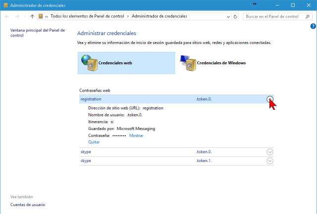 Flechita para mostrar los detalles de una página o recurso web en cómo mostrar y administrar las contraseñas en Internet Explorer