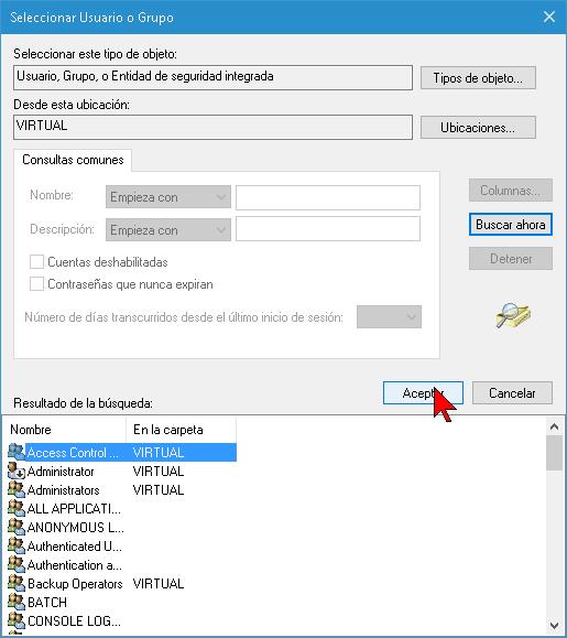 Botón Aceptar para finalizar proceso en cómo tomar posesión de una carpeta o archivo en Windows 10