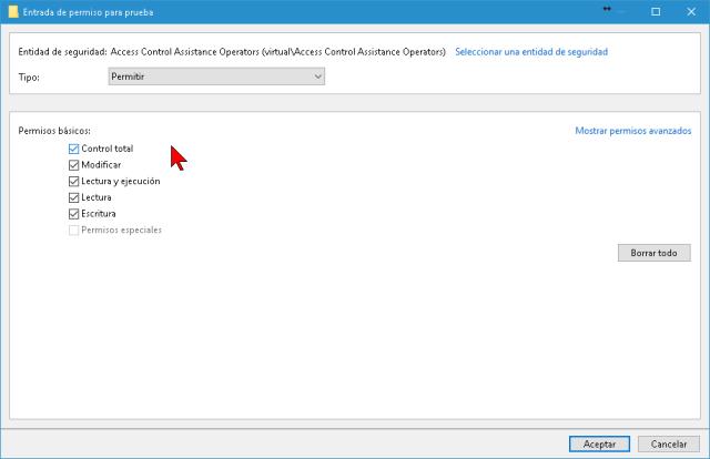 Manejo de los permisos para el usuario del archivo o la carpeta en cómo tomar posesión de una carpeta o archivo en Windows 10