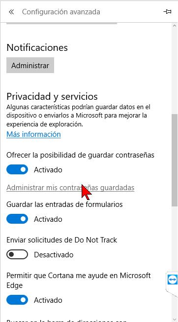 Opción Administrar mis contraseñas guardadas en cómo ver y administrar las contraseñas en Microsoft Edge