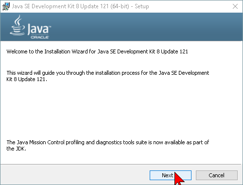 Pantalla del instalador de Java en cómo descargar e instalar Java JDK en Windows 10