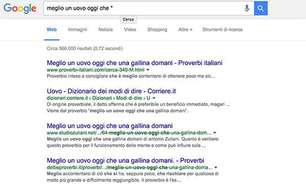 ricerca con asterisco google