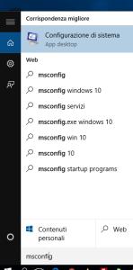 come richiamare msconfig in windows 10
