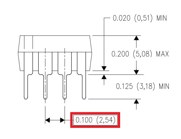 Medidas del chip LM555.