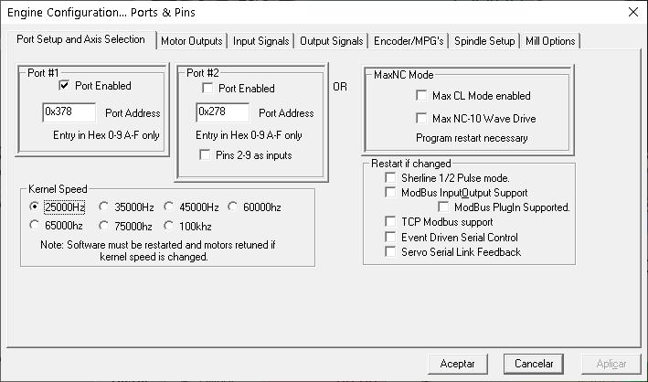Mach3 cnc configuración
