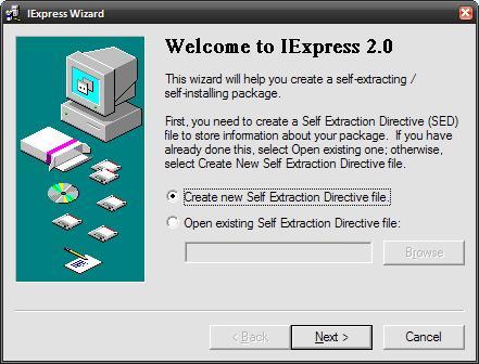 Crie arquivos self-extract direto no Windows
