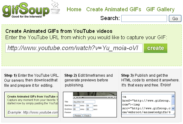 Transforme vídeos do YouTube em GIF animado
