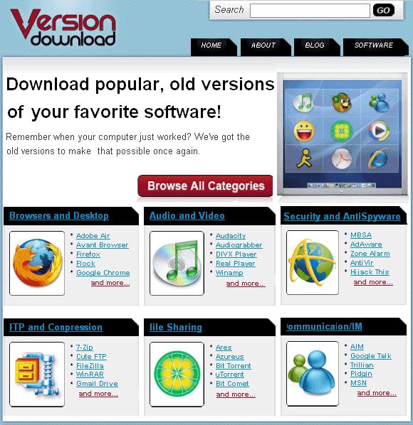 Versões antigas de softwares para download