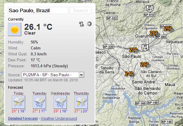 Google Maps + Previsão do tempo
