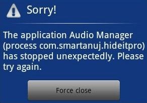 Android: Proteja aplicativos com mensagem falsa de fechamento forçado