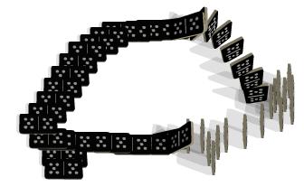 Drawminos: Enfilere e derrube dominós nesse jogo online
