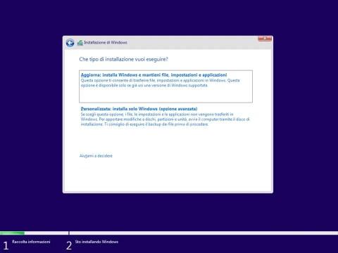 Selezione tipo di installazione personalizzata Windows 10