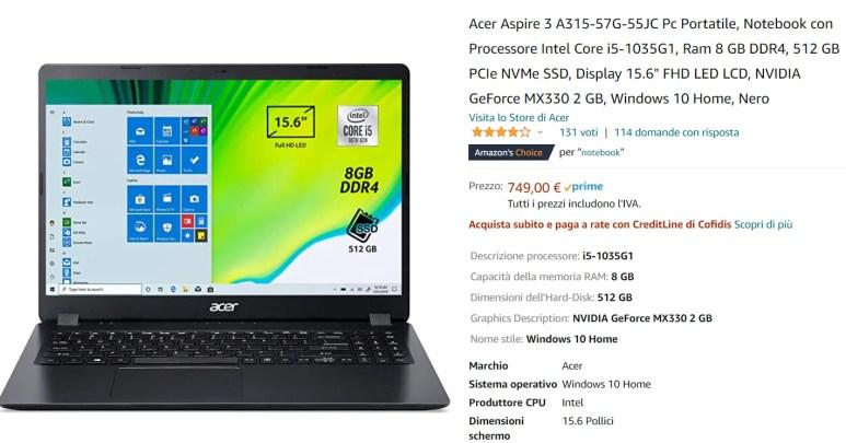 Guida Acquisto Notebook Carta Docente [Gennaio 2021]: Acer Aspire 3 15 Intel