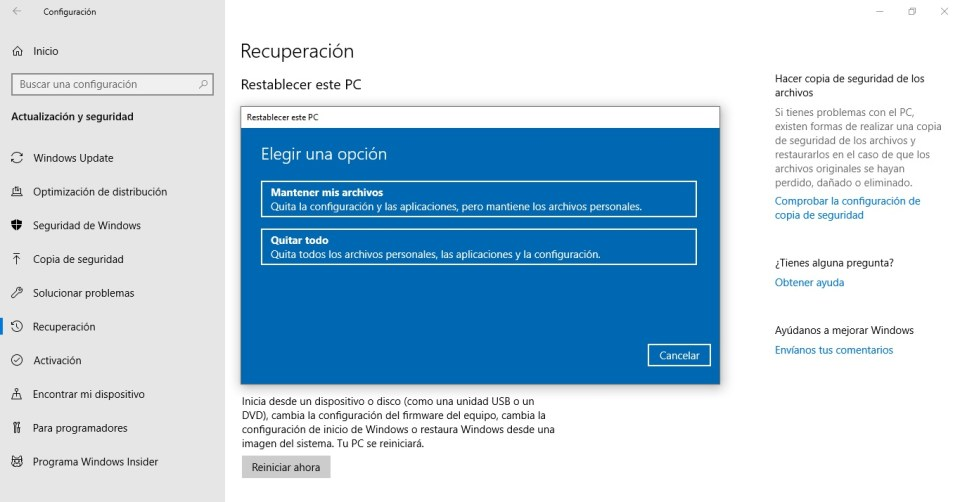 reset de windows