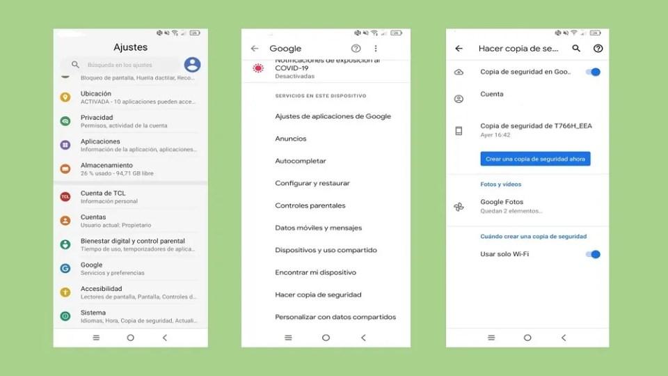 Para configurar un móvil nuevo de Android migrando datos necesitas una copia de seguridad