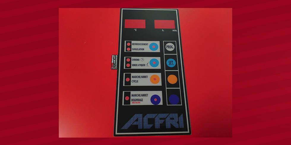 Etiqueta para cuadro eléctrico_sinóptico en policarbonato impreso en reverso