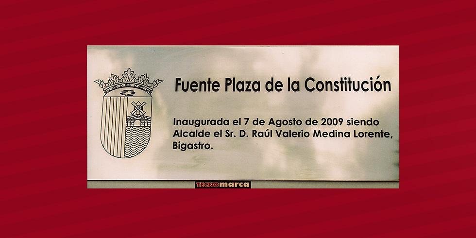 Grabado láser acero Plaza de la Constitución