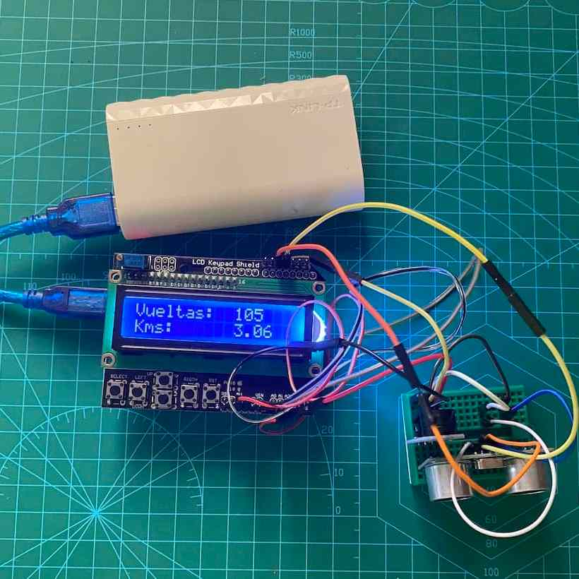 Contador de vueltas en Arduino con pantalla LCD y sensor de ultrasonidos