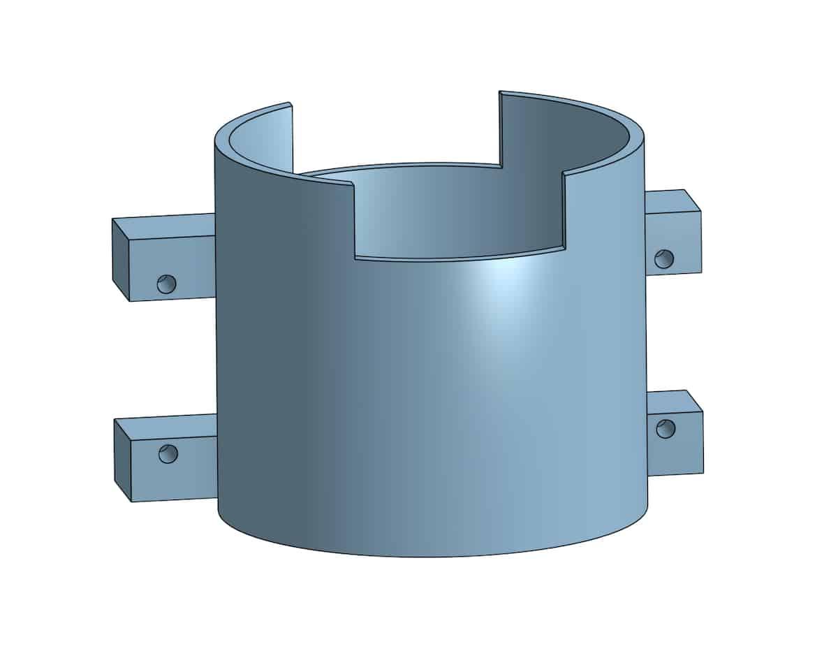 diseño pieza 3d del soporte de los servos para el dispensador automático de gel hidroalcohólico