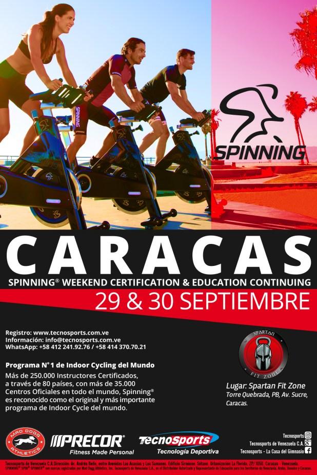 XPARTAN FIT ZONE y el Staff de Educación de TECNOSPORTS® invitan al 1er SPINNING® Weekend con Spinner® Ride (New) de Caracas, el próximo sábado 29 y domingo 30 de Septiembre de 2018.