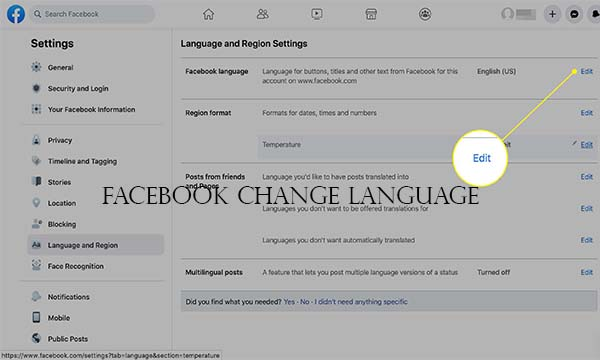 Facebook Change Language