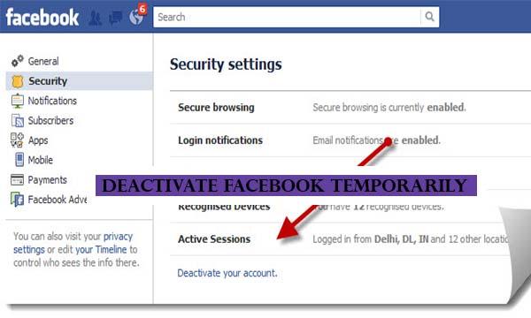 Deactivate Facebook Temporarily