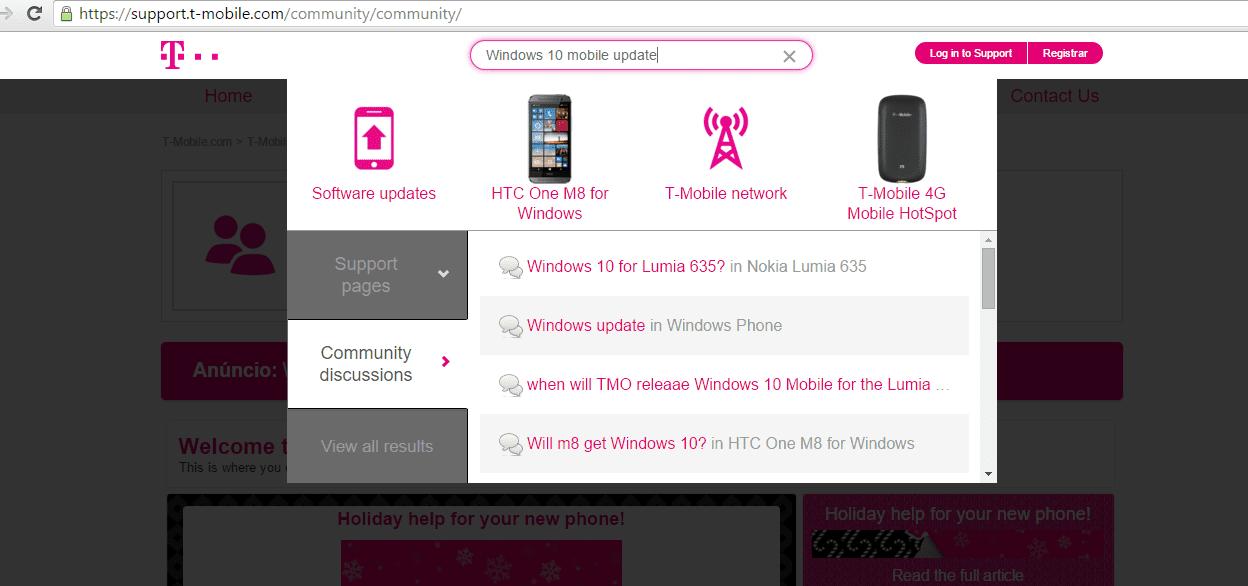 Campo de buscas no site da T-Mobile.