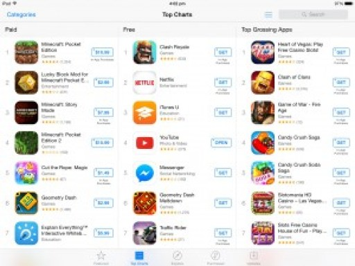 minecraft pirata fica no top mais baixados da apps store; apple remove jogo