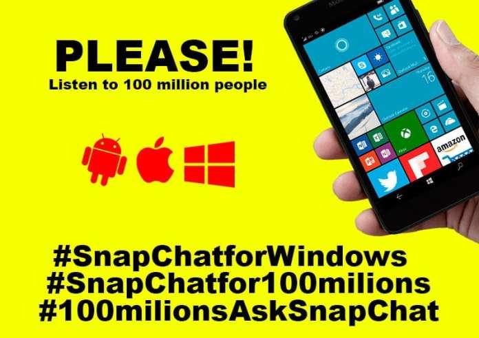 Snapchat participe! campanha pede snapchat para windows 10 Participe! Campanha pede SnapChat para Windows 10 snapchatforWindowsTecStudio