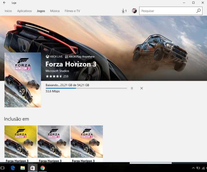 Forza Horizon 3 corre! forza horizon 3 está disponível gratuitamente na windows store