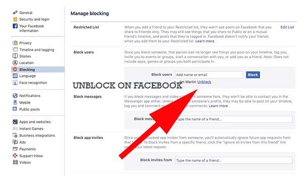 Unblock on Facebook