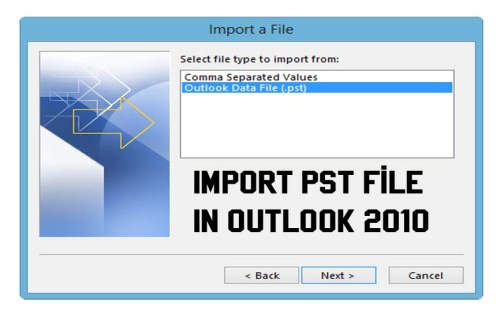 Import PST File In Outlook 2010