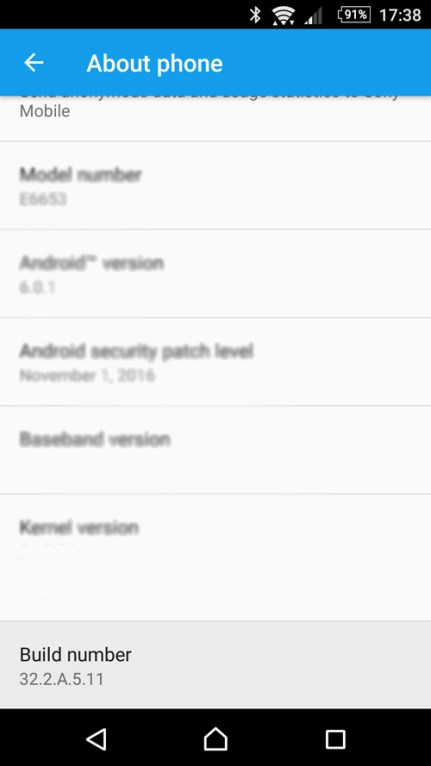 Build number in Android Marshmallow, Sony Xperia Z5