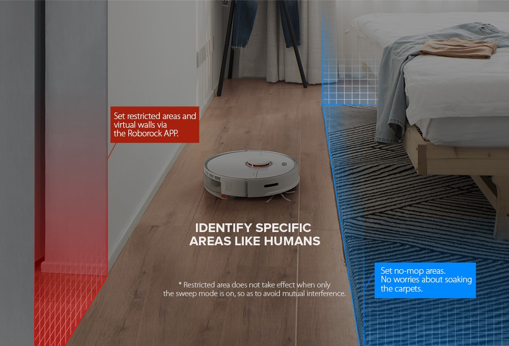 Roborock S5 Max precise Wet and Dry Robot Vacuum Cleaner - identify areas like human