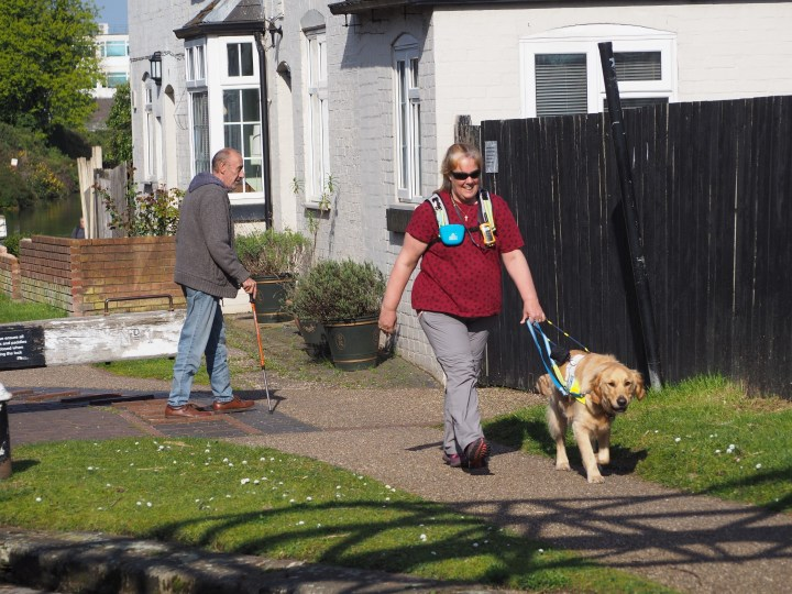 Mummy wearing burgundy coloured tshirt and light grey trousers, with hiviz yellow rucksack on, striding away from a lockop with Teddy guiding her on the towpath. A white lock cottage and high black fence in the background