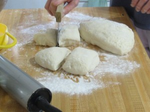 dividing dough for rolls