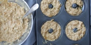 Grain Free Doggie Doughnut Batter in Donut Pan
