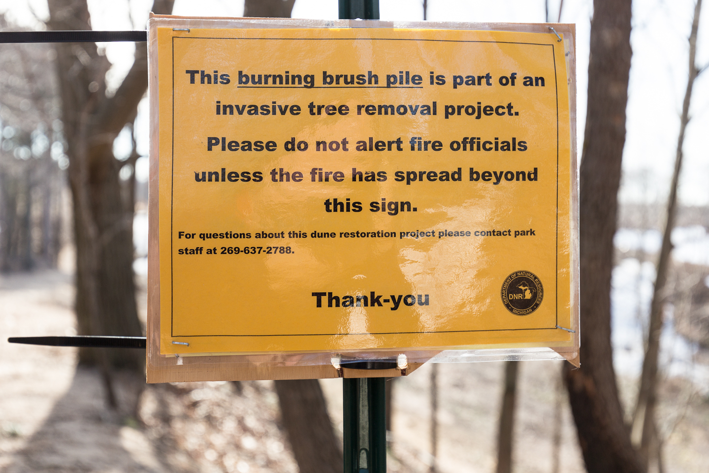 What are the chances that this sign will survive the fire if it reaches this point? Or that a hiker would be standing in the fire reading it?
