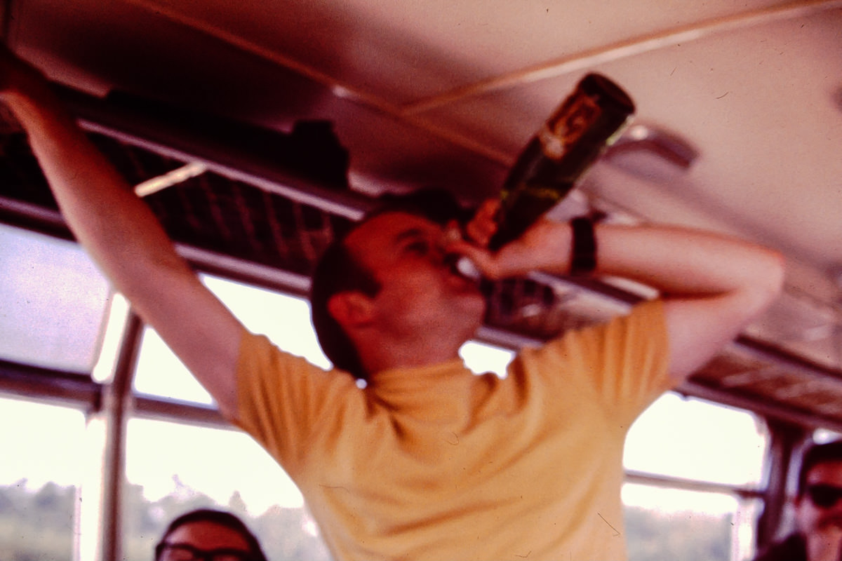 1969: Bill enjoying a bus