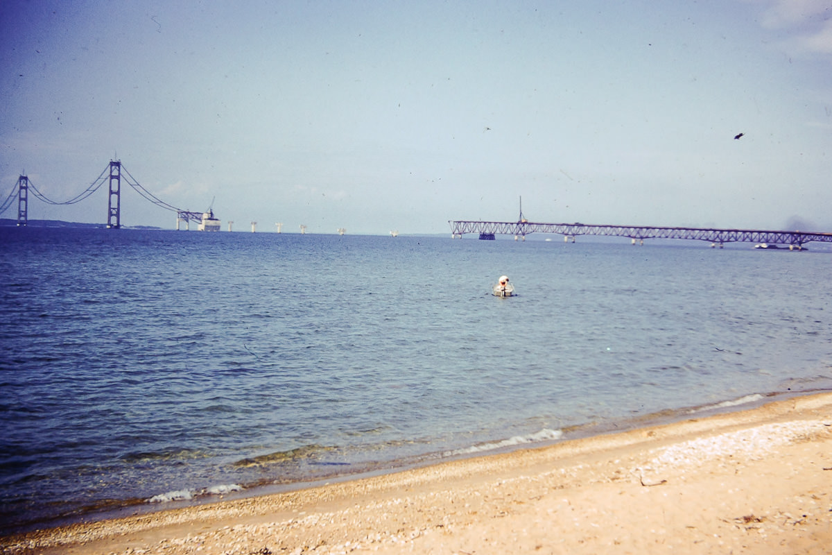 Mackinaw Bridge under construction